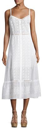 Veronica Beard Joni Sleeveless Embroidered Voile Midi Dress, Off White $595 thestylecure.com