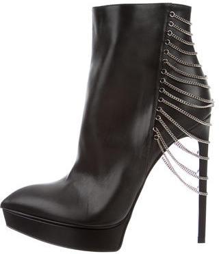Saint LaurentSaint Laurent Chain-Link Leather Ankle Boots