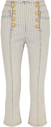 Balmain Cropped Striped High-rise Slim-leg Jeans - Light blue