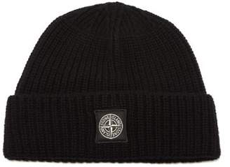Stone Island Ribbed Knit Wool Beanie Hat - Mens - Black