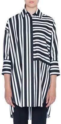 Akris Punto Asymmetric-Striped Kent-Collar Button-Front Tunic