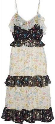 Love Sam Tiered Floral-Print Voile Midi Dress