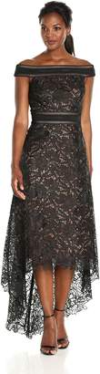 Tadashi Shoji Women's Hi Lo Off Shoulder Lace Gown, Black/Nude