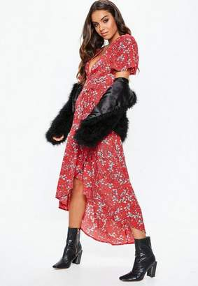 Missguided Red Floral Print Wrap Midi Dress