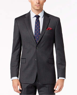 Tommy Hilfiger Men Slim-Fit Th Flex Stretch Gray/White Stripe Suit Jacket