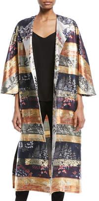 ADAM by Adam Lippes One-Button Silk-Lame Multipattern Jacquard Reversible Coat