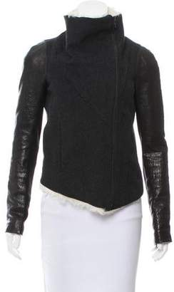 Helmut Lang Shearling-Trimmed Leather-Accented Jacket