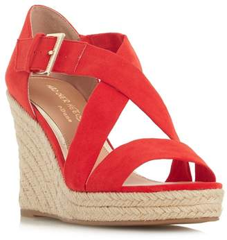 Head Over Heels by Dune - Red 'Kissimo' High Wedge Heel Espadrilles