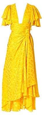 Carolina Herrera Women's Asymmetric Satin Jacquard Ruffle Dress