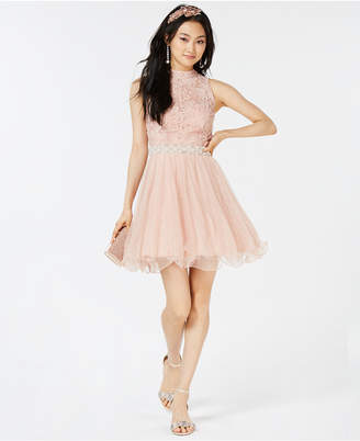 City Studios Juniors' Embellished Glitter Lace & Tulle Dress