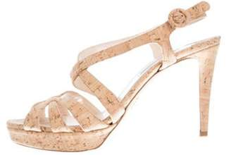 Prada Cork Ankle Strap Sandals Tan Cork Ankle Strap Sandals