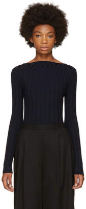 Enfold Navy Ribbed High Neck Pullover