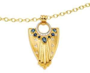 Artisan 18K Yellow Gold, Diamond & Sapphire Shield Shaped Pendant