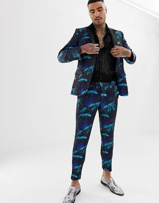 Moss Bros suit pant in turquoise floral jacquard
