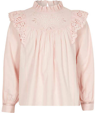 River Island Girls Pink broderie long sleeve blouse