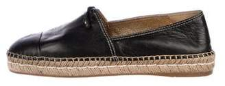 Prada Leather Cap-Toe Espadrille Flats