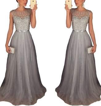 439a7b54d51 Half Flower Bridal Sleeveless Tulle A-Line Long Graduation Evening Prom  Dress Beaded Sequins Homecoming