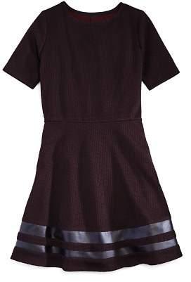 Aqua Girls' Textured Stretch Dress with Faux-Leather Trim, Big Kid - 100% Exclusive