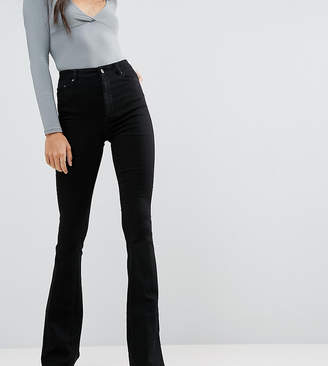 Asos Tall DESIGN Tall bell flare jeans in clean black with pressed crease