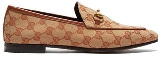 Gucci Jordaan Gg Jacquard Canvas Loafers - Womens - Beige Multi