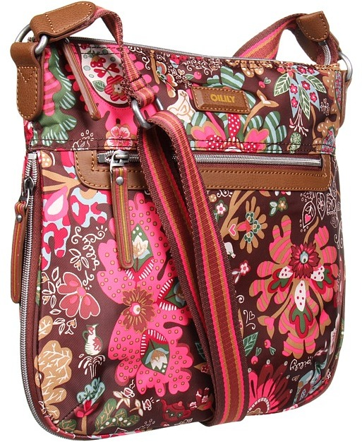 Oilily Winter Leaves M Flat Shoulder Bag (Cacao) - Bags and Luggage