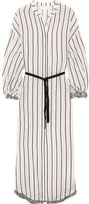 Zimmermann - Aerial Tasseled Striped Cotton-voile Dress - Gray $530 thestylecure.com