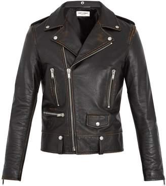 Saint Laurent Notch-lapel leather biker jacket