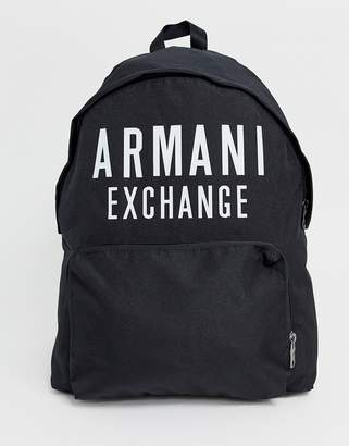 Armani Exchange nylon logo backpack in black