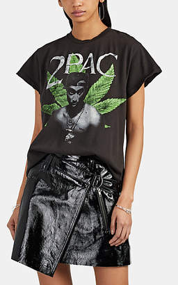 "MadeWorn Women's ""2Pac"" Distressed Cotton T-Shirt - Black"