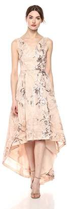 Calvin Klein Women's Sleeveless V-Neck High Low Hem Gown in Matellic Lace Fabric