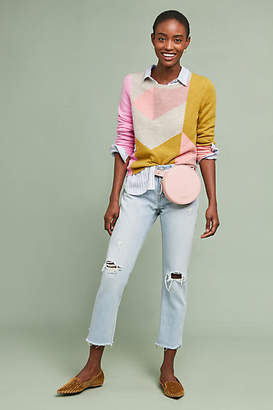 White + Warren Colorblocked Cashmere Sweater