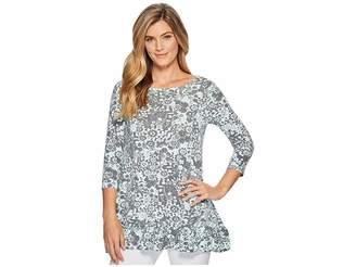 Mod-o-doc Cotton Modal Spandex Jersey 3/4 Sleeve Shirred Ruffle Tunic Women's Long Sleeve Pullover