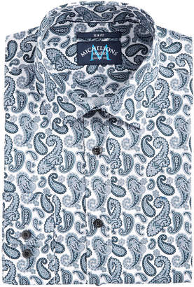 Michelsons of London Men Slim-Fit Performance Stretch Paisley-Print Dress Shirt