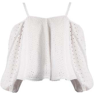 Anna October - Puff Sleeve Off The Shoulder Broderie Anglaise Top - Womens - White