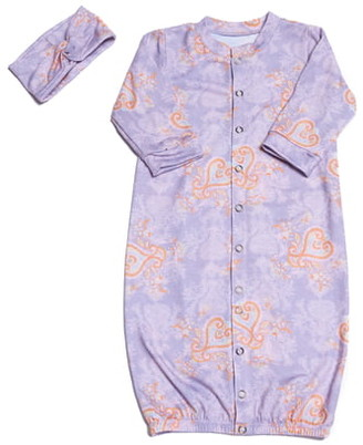 Baby Grey Convertible Gown & Head Wrap Set