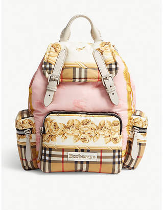 Burberry Floral and check vintage canvas rucksack