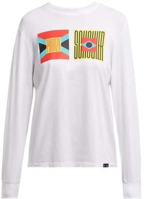 Proenza Schouler pswl Pswl - Logo Print Long Sleeved Cotton T Shirt - Womens - White Multi