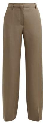 Valentino Straight Leg Mohair And Wool Blend Trousers - Womens - Brown
