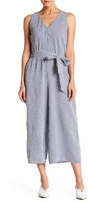 MSK V-Neck Gingham Print Jumpsuit