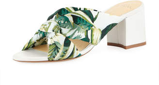 Alexandre Birman Kacey Kotted Fabric Mule Sandals