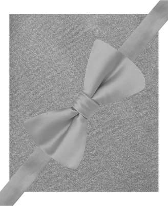 Alfani Mens Silver Pre-Tied Bow Tie & Pocket Square Set