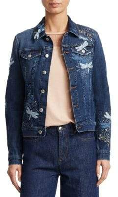 RED Valentino Dragonfly Embroidered Denim Jacket