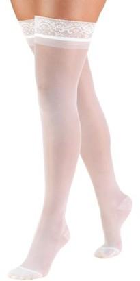 BEIGE Truform Women's Stockings, Thigh High, Sheer: 15-20 mmHg, Ivory, Medium