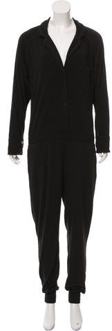T by Alexander Wang Notch-Lapel Long Sleeve Jumpsuit