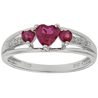 JCPenney FINE JEWELRY Lab-Created Ruby & Diamond-Accent Heart-Shaped 3-Stone Sterling Silver Ring
