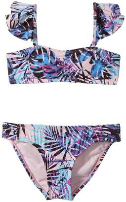 Hobie Kids Take It Or Leaf It Bandeau and Sash Side Hipster Set Girl's Swimwear Sets