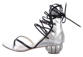 Chanel Metallic Lace-Up Sandals Silver Metallic Lace-Up Sandals