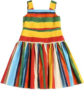 Dolce & Gabbana Stripes Print Cotton Poplin Dress