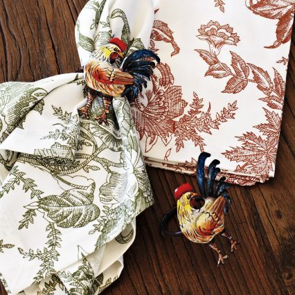 Sur La Table Poetic Rooster Napkin Ring