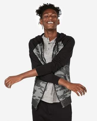 Express Camo Honeycomb Full-Zip Hooded Sweater